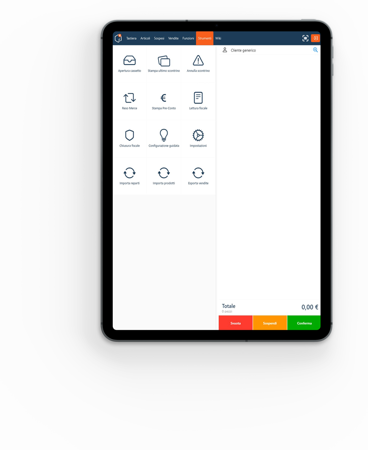 Ipad con schermata registratore d i cassa Mallbox RT